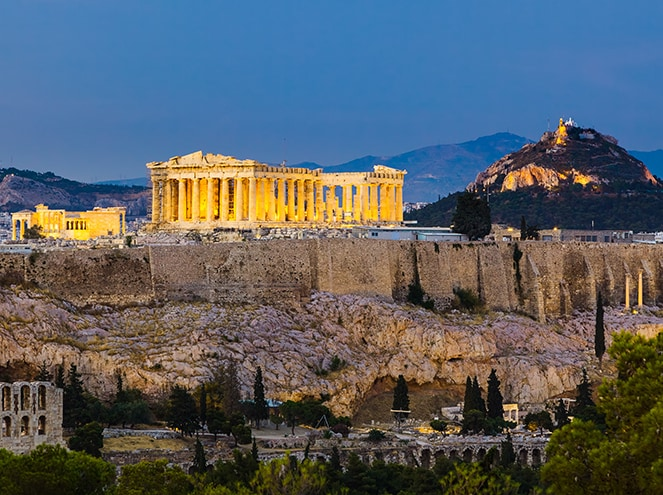 athens by night greece