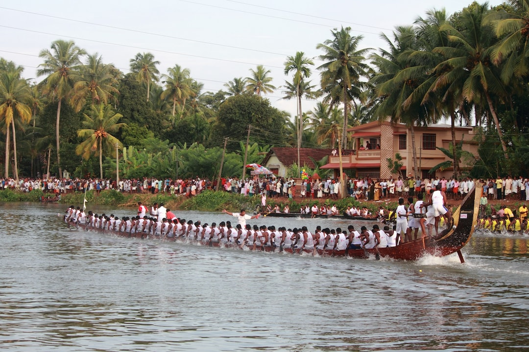 People cheer the boats from the riverbanks